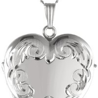 "Sterling Silver Engraved 4-Picture Heart Locket, 20"" - Foter"