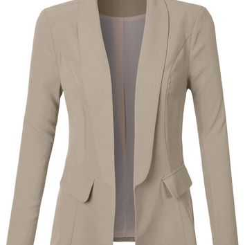 LE3NO Womens Classic Oversized Long Sleeve Open Front Boyfriend Blazer Jacket