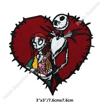 "3"" Jack & Sally Love Stitch Heart Nightmare Before Christmas tv series movie film Embroidery patches for clothing accessories"