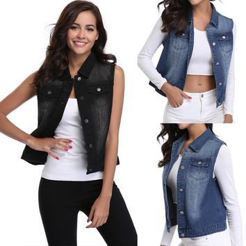 Miss Moly Women's Sleeveless Vest Jean Denim Jacket Wash Rip Stretch Tank Regular Collar Buttoned Washed Vest Flap Pocket