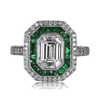 Diamond and Emerald Engagement Ring - Vintage Style - GIA - F Color - Row of pave diamonds surrounding an emerald cut diamond