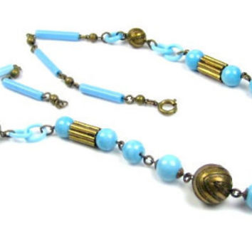 VALENTINE SALE, French Celluloid Necklace, Blue Robins Egg, 1920s Art Deco, Vintage Jewelry
