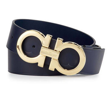 Gold Buckle Blue Marine Belt by Ferragamo
