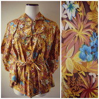 70s tropical print PONCHO vintage hippie boho floral print HAWAIIAN s/m/l cotton batwing belted 1970s pullover blouse top summer flowy shirt