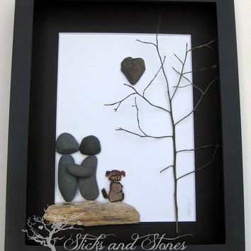 Unique Couple and Dog Gift- Personalized COUPLE'S Gift- SticksnStone Designs- Pebble Art Unique Wedding Gift -  Pebble Art - Mixed Media