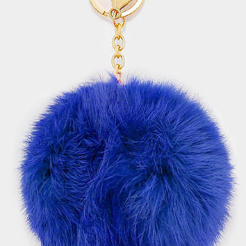 Large Rabbit Fur Pom Pom Keychain, Key Ring Bag Pendant Accessory - Cobalt
