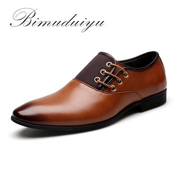 BIMUDUIYU Men's Fashion Formal Leather Dress Shoes