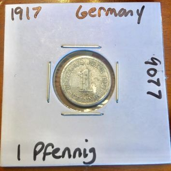 1917 German Empire 1 Pfennig Coin 9077