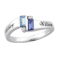 Couple's Emerald-Cut Simulated Birthstone and Diamond Accent Ring in Sterling Silver (2 Stones and Names) - View All Personalized Jewelry - Zales