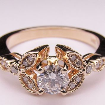 Engagement Ring - Round Diamond Floral Vintage Engagement Ring 0.20 tcw. In 14K Rose Pink Gold - ES269BRRG