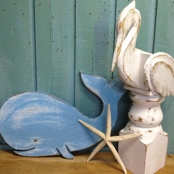 Small Whale Art Sign Wood Beach House Decor by CastawaysHall - Ready to Ship