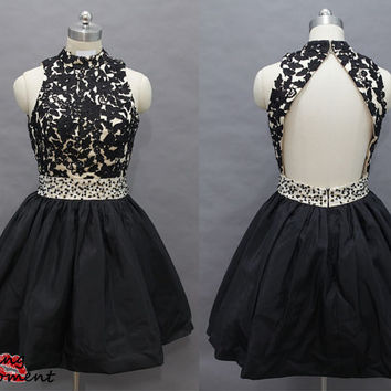 Unique Black And Champagne Short Prom Dress 2014- New Arrival Princess Backless Short Black Prom Dresses Under 200 Online Sale 9009
