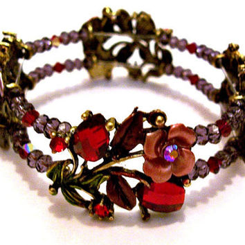 Bracelet Roses Hearts Purple Red by CreationsByJanetUSA on Etsy