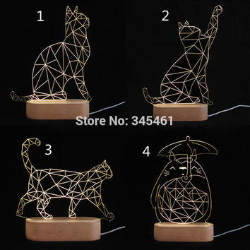 Cool 3D SPIRALISM NIGHT LAMP Cat Animal Shapes Bedroom Lights Micro USB Wood Mood LED Table Lamp Night Light For Child
