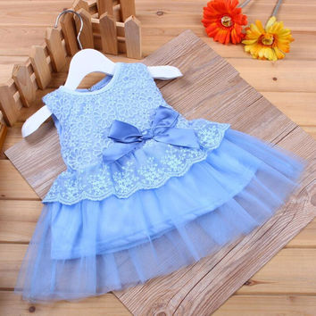 2016 Princess Baby Dress Lace Flower Sleeveless Baby Girl Dress Party Wedding Baby Costume Newborn Baby Girls Clothing New Year