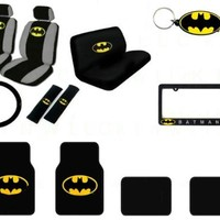 A Set of 17 Piece Batman Automotive Gif Set: 2 Seat Covers, 1 Bench Cover, 1 Wheel Cover, 2 Shoulder Pad, 4 Floor Mats, 1 Key Fob and 1 License Frame - Batman Classic