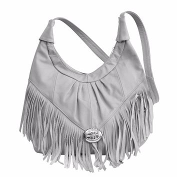 Womens Shoulder Handbag Fringe Hobo Bag Light Soft Genuine Leather Purse Grey