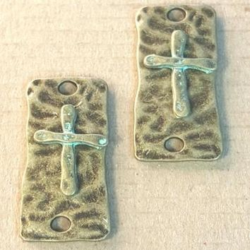 AB-0195 - Antique Brass Rectangle Connector With Cross, 15x37mm | Pkg 2