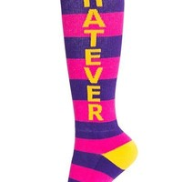 Whatever Unisex Knee Socks in Purple and Hot Pink Stripes with Yellow Lettering