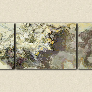 "Very large wall art triptych abstract art canvas print, 30x72 to 40x90 giclee, in beige and warm gray, ""Sugarloaf"""