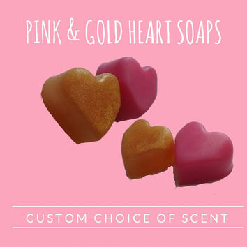 Gold & Pink Heart Soap Favors - Love Theme Handmade Heart Shaped Scented Soap Party Favors for Wedding or Bridal Showers Pack of 50