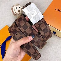 LV Louis Vuitton New fashion plaid leather couple belt With Box