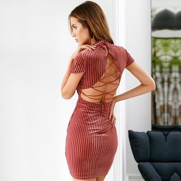 High Neck Stripes Back Strap Cross Short Bodycon Dress