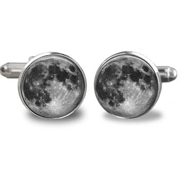 Full Moon Cufflinks - Space Picture Cufflinks -  Galaxy Jewelry - Solar System Cufflink - Full Moon - Groomsmen - Men Cufflinks - Astronomy