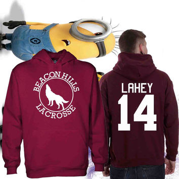 05df59ee26 Personalized back Teen Wolf Beacon Hills Lacrrose Team Maroon sweater  unisex adult size