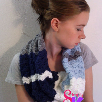 Ocean Waves Shell Cowl, Crochet Cowl, Crochet Accessory, Women's Accessory, Neckwarmer, Crochet Scarf, Striped Scarf (Ready to Ship!)