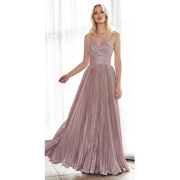 Long A-Line Pleated Dress Metallic Blush Glitter Finish Sweetheart Neckline