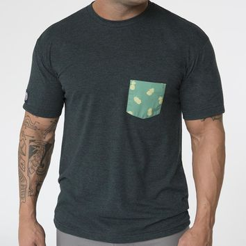 Green Pineapples Print Pocket Tee