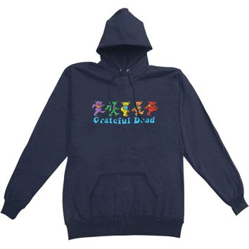 Grateful Dead Men's  Dancing Bear Hooded Sweatshirt Blue Rockabilia