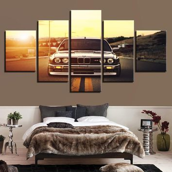 Modern HD Printed Wall Art Frame Canvas Pictures 5 Pieces Sports Car Sunset Landscape Painting Poster Home Decor For Living Room