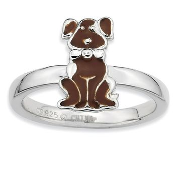 Sterling Silver Stackable Brown Enameled Dog Ring