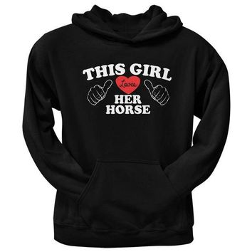 CREYCY8 This Girl Loves Her Horse Black Adult Pullover Hoodie