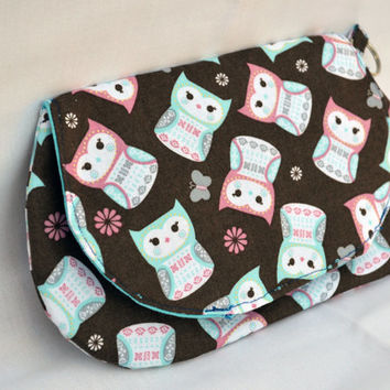 Teal and pink owls clutch, purse, snap pouch, clutch, fall clutch, wristlet, pouch