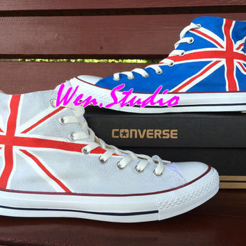 WEN Original Design Union Jack UK Flag Converse UK Flag Shoes Hand Painted Shoes,Converse Chuck Taylor,Converse All Star Birthday Gifts