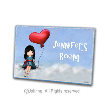 Personalized door sign, room wooden door plaque, children room sign, girls room decor, study room door sign, custom name, nursery art