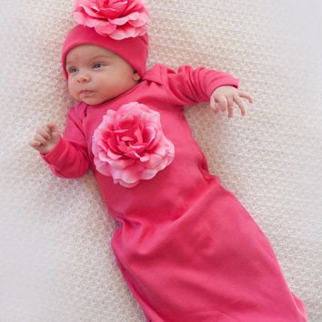 Take-Home-Outfit for Baby Girl - Fuchsia With Fuchsia Flowers Infant Girls Shower Gift