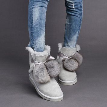 LFMON UGG 1018517  TODS Double Ball Women Men Fashion Casual Wool Winter Snow Boots Grey