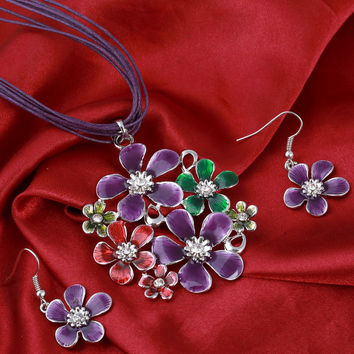 6 Colors Fashion Colorful Flower pendant Necklace Earrings Set Multilayer leather Chiffon Ribbon Choker Neckalce jewelry sets