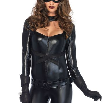 4PC Cat Girl includes jumpsuit belt gloves and eye mask