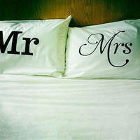 Mr & Mrs pillowcase set by dustysandlulu on Etsy