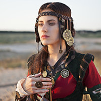 "Braided Leather Headband ""The Alchemists daughter"" real leather headband"