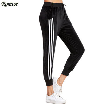 ROMWE Sweat Pants Women Street Style Women Autumn Mid Waist Pant Black Striped Side Drawstring Waist Casual Pants