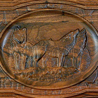 10x14 Inch 3D Wood Carving Decorative Wolf Wall Plaque On Black Walnut With Hanging Attachment