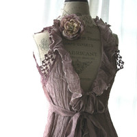 Romantic shabby shirt, plum cottage chic, boho, bohemian gypsy cotton vest, lace, country style, fall clothing, womens