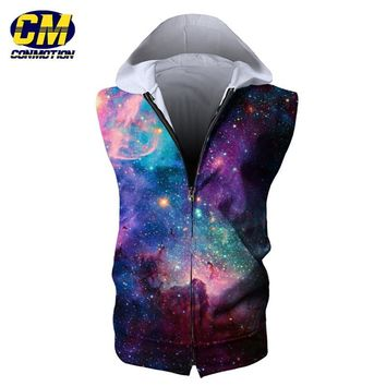 Dropshipping Fashion Men's Summer Zip Hooded Sweatshirt Fitness Sleeveless Hoodie EUR SIZE