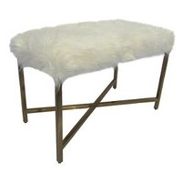 Faux Fur Bench - White/Gold - Threshold™